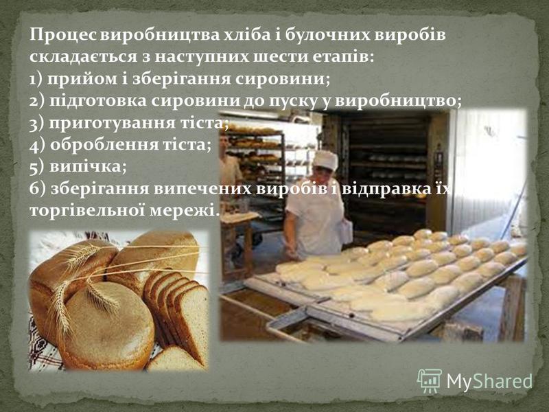 Процес виробництва хліба і булочних виробів складається з наступних шести етапів: 1) прийом і зберігання сировини; 2) підготовка сировини до пуску у виробництво; 3) приготування тіста; 4) оброблення тіста; 5) випічка; 6) зберігання випечених виробів