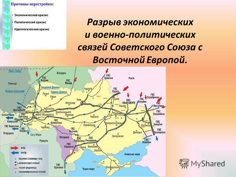 Разрыв экономических и военно-политических связей Советского Союза с Восточной Европой.