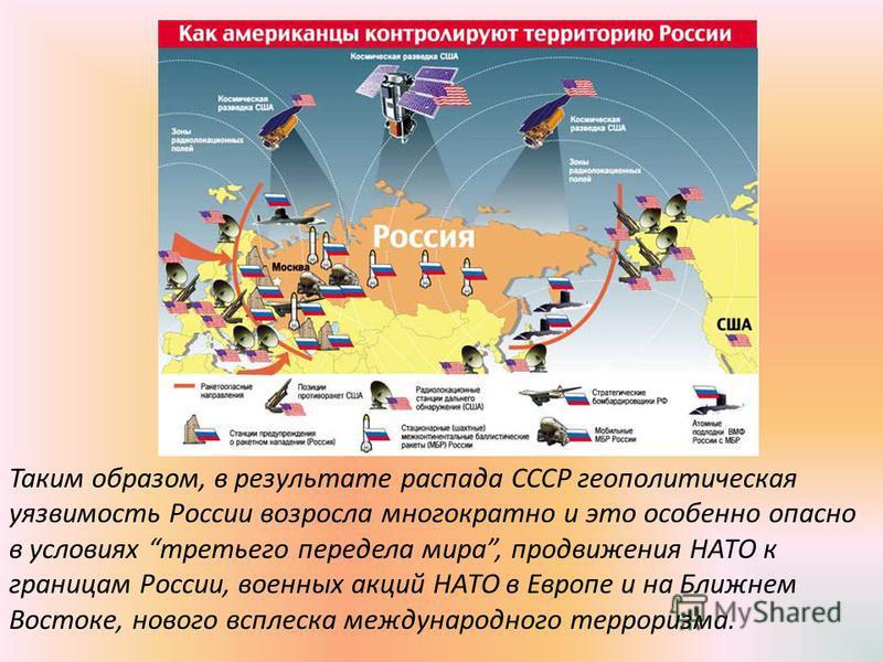 Таким образом, в результате распада СССР геополитическая уязвимость России возросла многократно и это особенно опасно в условиях третьего передела мира, продвижения НАТО к границам России, военных акций НАТО в Европе и на Ближнем Востоке, нового вспл