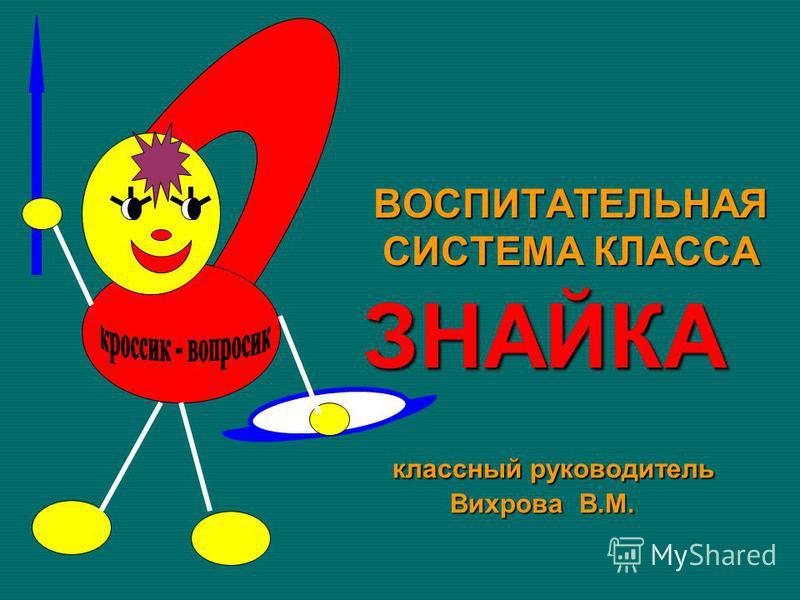 классный руководитель Вихрова В.М. классный руководитель Вихрова В.М. ЗНАЙКА ВОСПИТАТЕЛЬНАЯ СИСТЕМА КЛАССА