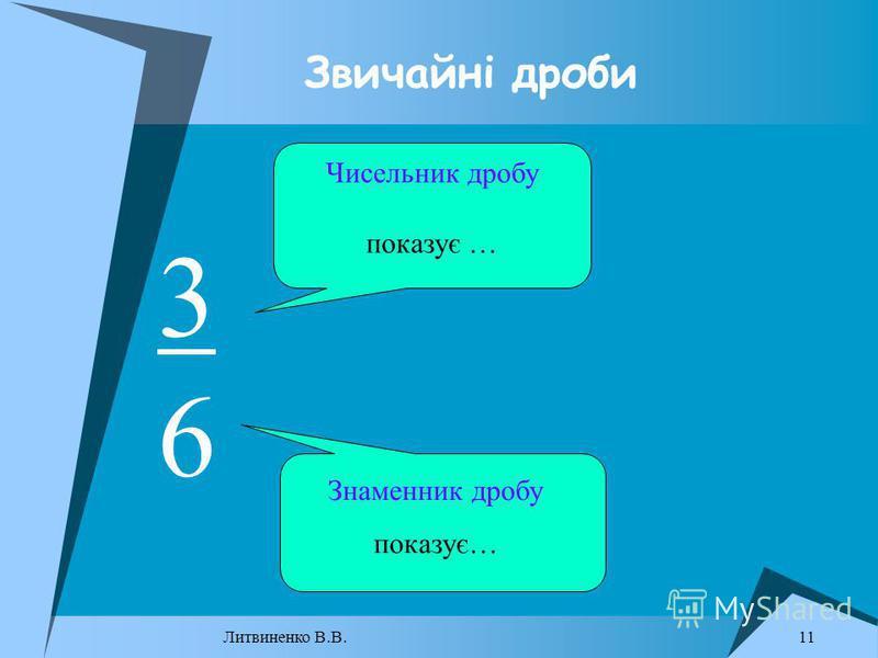 Звичайні дроби 3 6 Чисельник дробу показує … Знаменник дробу показує… 11 Литвиненко В.В.