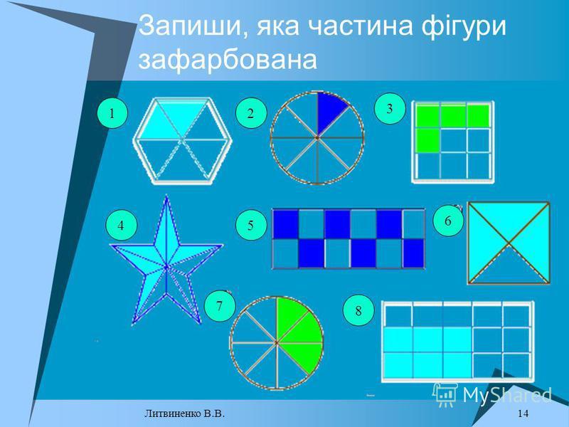 Запиши, яка частина фігури зафарбована 12 3 45 6 8 7 14 Литвиненко В.В.