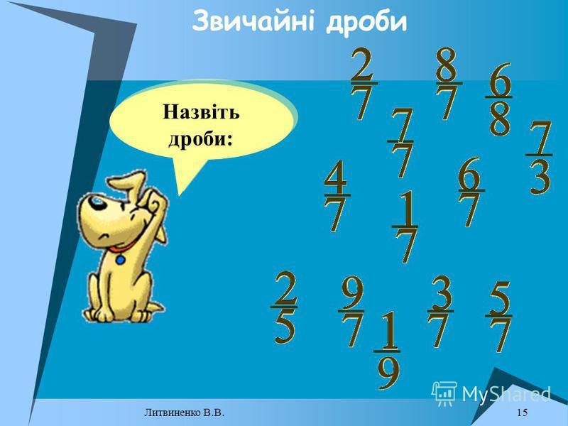 Назвіть дроби: Звичайні дроби 15 Литвиненко В.В.