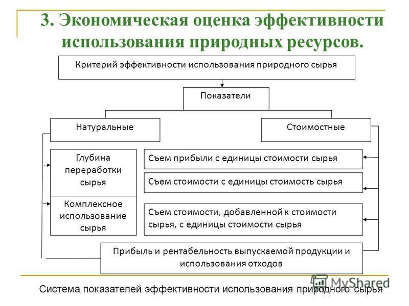 3. Экономическая оценка эффективности использования природных ресурсов. Критерий эффективности использования природного сырья Показатели Натуральные Глубина переработки сырья Комплексное использование сырья Стоимостные Съем прибыли с единицы стоимост