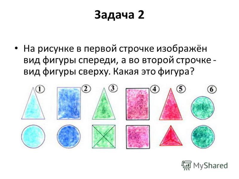 Задача 2 На рисунке в первой строчке изображён вид фигуры спереди, а во второй строчке - вид фигуры сверху. Какая это фигура?