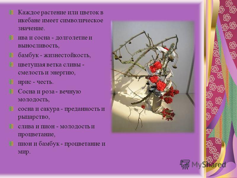 Каждое растение или цветок в икебане имеет символическое значение. ива и сосна - долголетие и выносливость, бамбук - жизнестойкость, цветущая ветка сливы - смелость и энергию, ирис - честь. Сосна и роза - вечную молодость, сосна и сакура - преданност