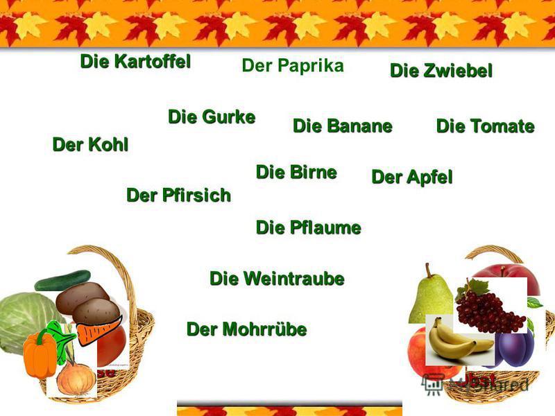 Die Birne Obst Der Apfel Der Pfirsich Die Pflaume Die Weintraube Die Banane Gemüse Die Gurke Die Tomate Der Kohl Der Mohrrübe Die Zwiebel Die Kartoffel Der Paprika