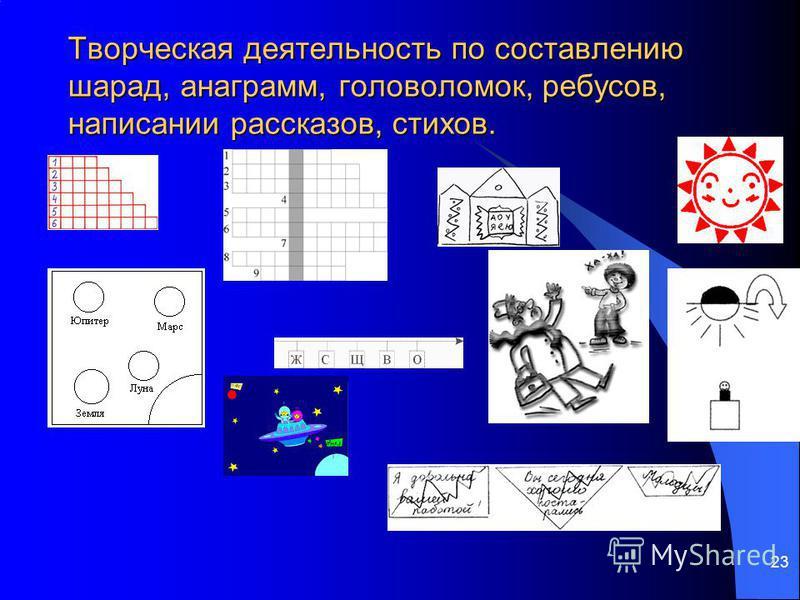 23 Творческая деятельность по составлению шарад, анаграмм, головоломок, ребусов, написании рассказов, стихов.