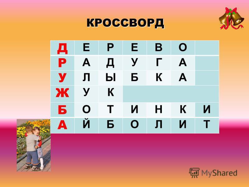 Д ЕРЕВО Р АДУГА У ЛЫБКА Ж УК Б ОТИНКИ А ЙБОЛИТ КРОССВОРД