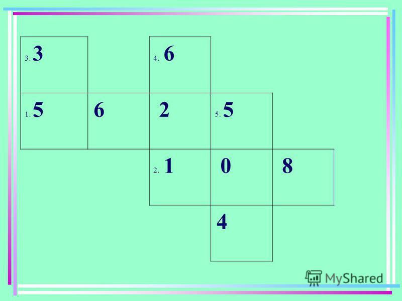 МАТЕМАТИЧНІ кросворди 3 4 1 5 2 По горизонталі: 1.Квадрат двозначного числа, що закінчується цифрою 5; 2.Число більше за квадрат 10 на 8 ; По вертикалі: 3.Сума коренів рівняння (х – 5)(х – 7)=0 ; 4.Тризначне число, кратне 9 ; 5.Добуток трьох послідов