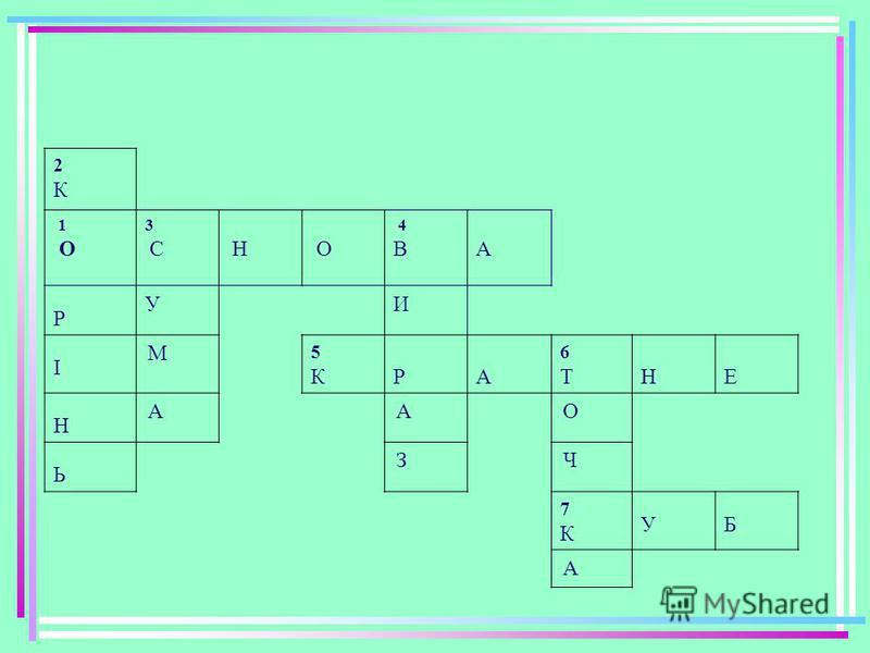 2 1 3 4 5 6 7 По горизонталі: 1.Сторона трикутника, на якій він стоїть; 5.Число,що ділиться на дане ; 7.Геометрична фігура. По вертикалі: 2.Число, що перетворює рівняння у правильну рівність ; 3.Компонент арифметичної дії; 4.Запис, що складається з ч