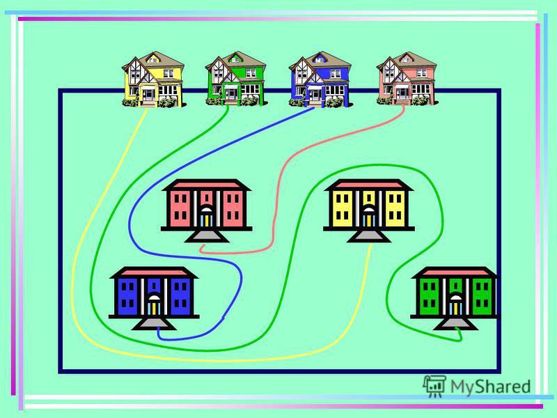 Одного дня на свіжому снігу добре було видно, що сліди чотирьох хлопчиків, що живуть в різних будинках, сліди ніде не перетинають один одного і не виходять за межі прямокутника. Намалюйте їх шляхи так, щоб хлопчик з жовтого будиночка потрапив в жовту