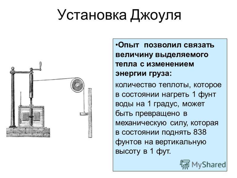 Установка Джоуля Опыт позволил связать величину выделяемого тепла с изменением энергии груза: количество теплоты, которое в состоянии нагреть 1 фунт воды на 1 градус, может быть превращено в механическую силу, которая в состоянии поднять 838 фунтов н