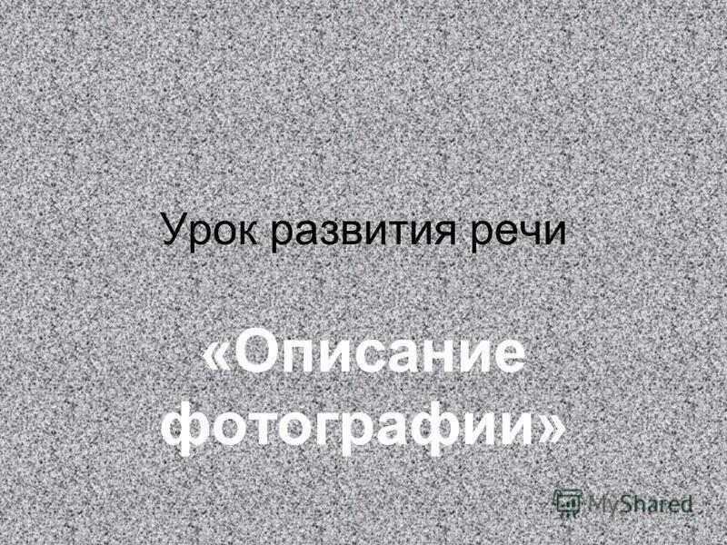 Урок развития речи «Описание фотографии»