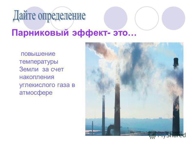 Парниковый эффект- это… повышение температуры Земли за счет накопления углекислого газа в атмосфере http://222.by/taxonomy/term/360/0?page=2