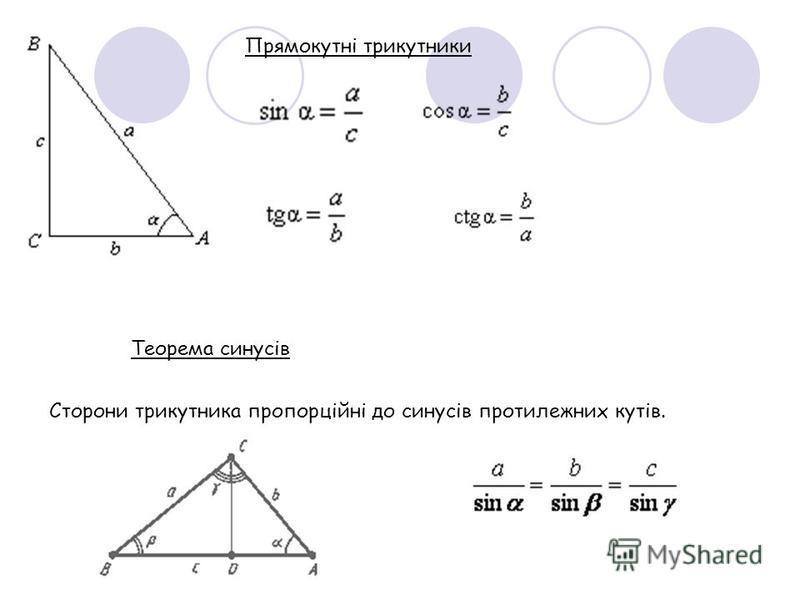 Прямокутні трикутники Теорема синусів Сторони трикутника пропорційні до синусів протилежних кутів.