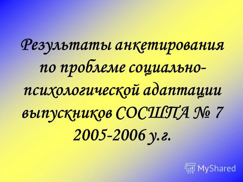 Результаты анкетирования по проблеме социально- психологической адаптации выпускников СОСШПА 7 2005-2006 у.г.