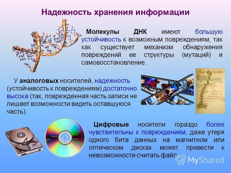 На гибком магнитном диске может храниться книга объемом около 600 страниц. На жестком магнитном диске или на DVD можно сохранить целую библиотеку, включающую десятки тысяч книг. Информационная емкость носителей информации Носители информации характер