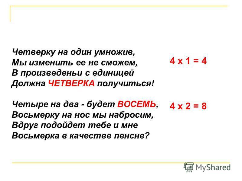 Четверку на один умножив, Мы изменить ее не сможем, В произведении с единицей Должна ЧЕТВЕРКА получиться! Четыре на два - будет ВОСЕМЬ, Восьмерку на нос мы набросим, Вдруг подойдет тебе и мне Восьмерка в качестве пенсне? 4 х 1 = 4 4 х 2 = 8