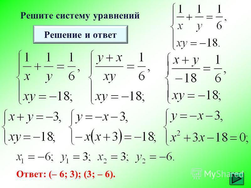 Решите систему уравнений Решение и ответ Ответ: (– 6; 3); (3; – 6).
