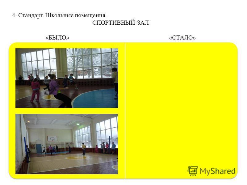 4. Стандарт. Школьные помещения. СПОРТИВНЫЙ ЗАЛ «БЫЛО» «СТАЛО»