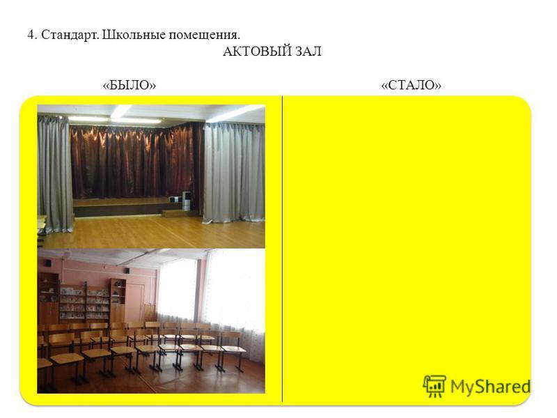 4. Стандарт. Школьные помещения. АКТОВЫЙ ЗАЛ «БЫЛО» «СТАЛО»