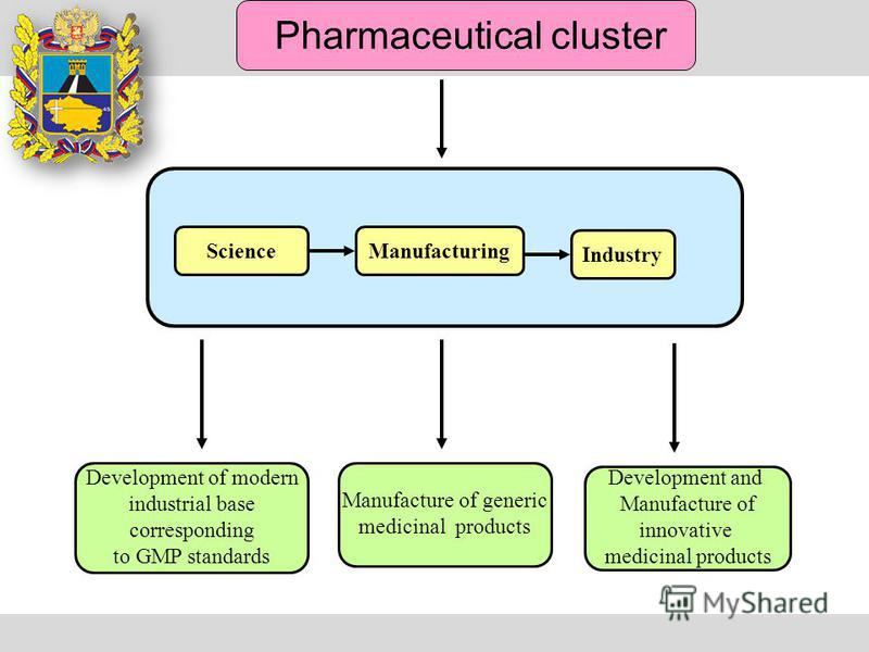 Pharmaceutical cluster Manufacture of generic medicinal products Development of modern industrial base corresponding to GMP standards Development and Manufacture of innovative medicinal products Science Industry Manufacturing