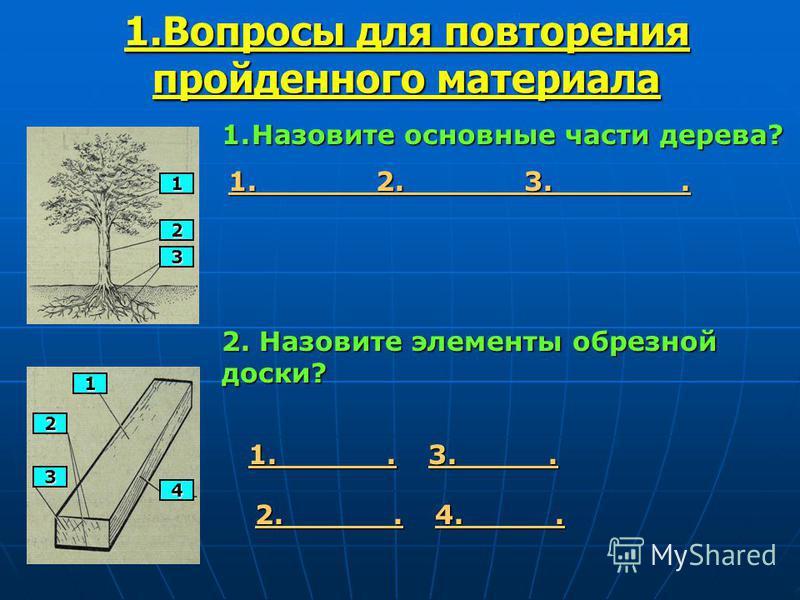1. Вопросы для повторения пройденного материала 1 2 3 1. Назовите основные части дерева? 1. 2. 3.. 1 2 3 4 2. Назовите элементы обрезной доски? 1.. 2.. 3.. 4..