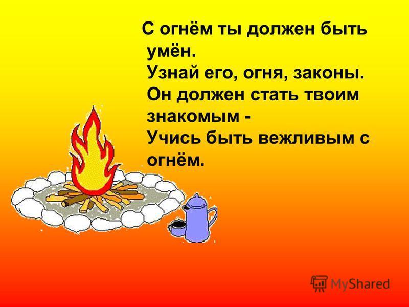 С огнём ты должен быть умён. Узнай его, огня, законы. Он должен стать твоим знакомым - Учись быть вежливым с огнём.