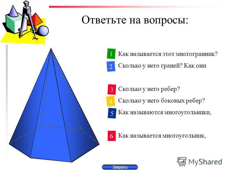 Ответьте на вопросы: Закрыть Как называется этот многогранник? Сколько у него граней? Как они называются? Сколько у него ребер? Сколько у него боковых ребер? Как называются многоугольники, являющиеся боковыми гранями? Как называется многоугольник, яв
