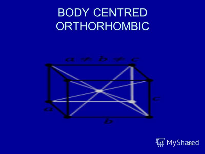 20 BODY CENTRED ORTHORHOMBIC