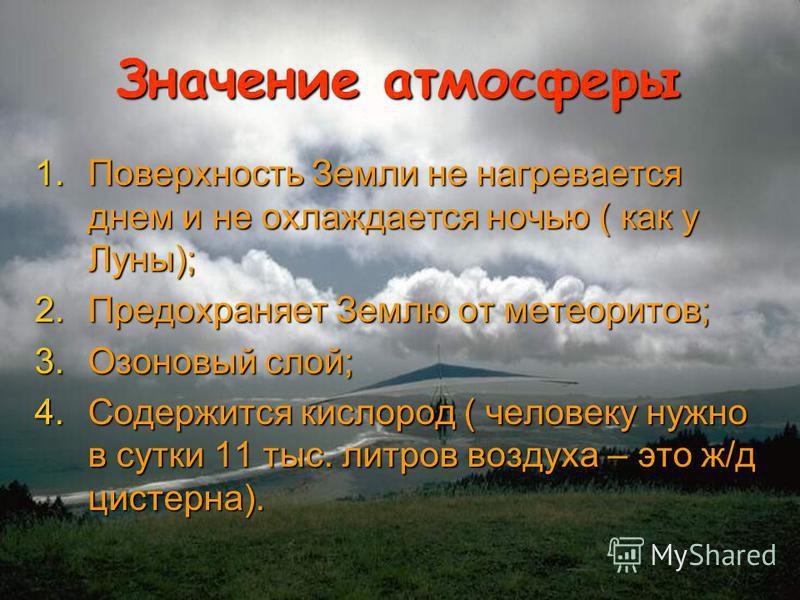 Значение атмосферы 1. Поверхность Земли не нагревается днем и не охлаждается ночью ( как у Луны); 2. Предохраняет Землю от метеоритов; 3. Озоновый слой; 4. Содержится кислород ( человеку нужно в сутки 11 тыс. литров воздуха – это ж/д цистерна).