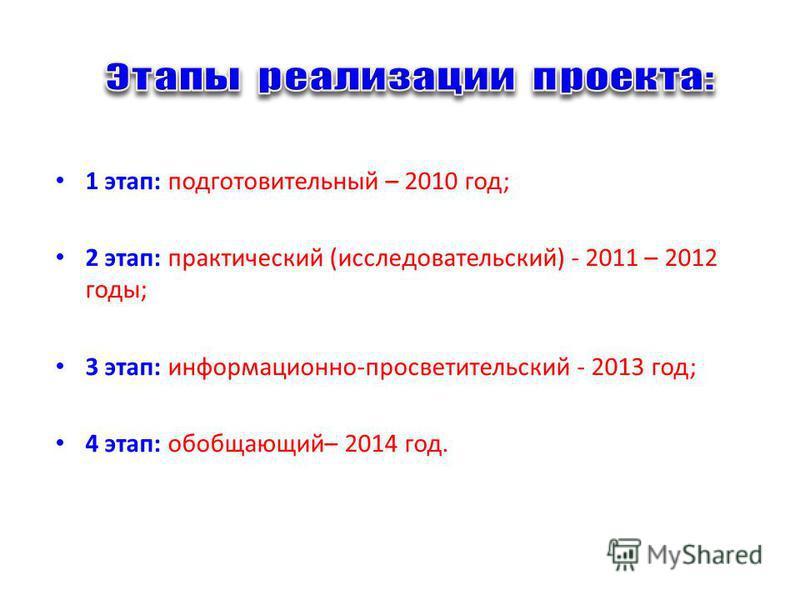 1 этап: подготовительный – 2010 год; 2 этап: практический (исследовательский) - 2011 – 2012 годы; 3 этап: информационно-просветительский - 2013 год; 4 этап: обобщающий– 2014 год.