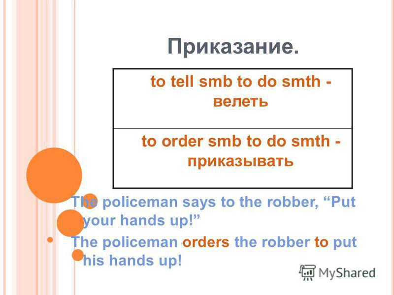 Приказание. The policeman says to the robber, Put your hands up! The policeman orders the robber to put his hands up! to tell smb to do smth - велеть to order smb to do smth - приказывать