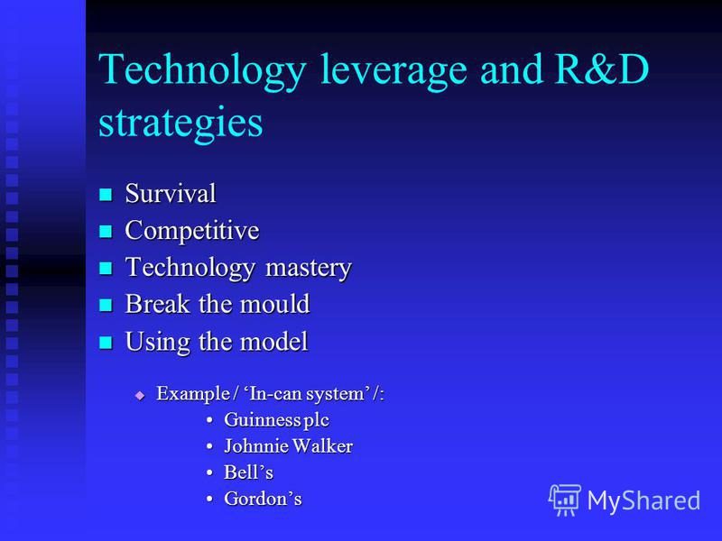 Technology leverage and R&D strategies Survival Survival Competitive Competitive Technology mastery Technology mastery Break the mould Break the mould Using the model Using the model Example / In-can system /: Example / In-can system /: Guinness plcG