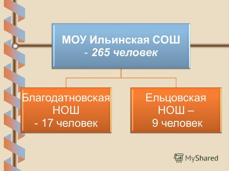 МОУ Ильинская СОШ - 265 человек Благодатновская НОШ - 17 человек Ельцовская НОШ – 9 человек