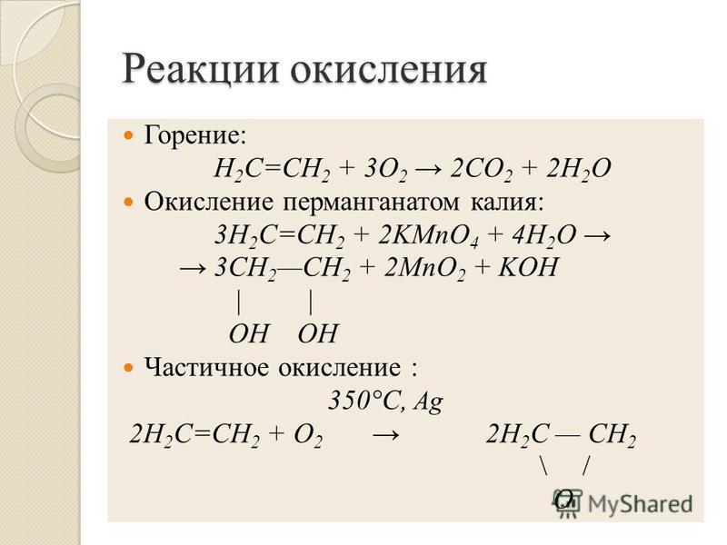 Реакции окисления Горение: Н 2 С=СН 2 + 3O 2 2СO 2 + 2Н 2 O Окисление перманганатом калия: 3H 2 C=CH 2 + 2KMnO 4 + 4H 2 O 3CH 2 CH 2 + 2MnO 2 + KOH | | OH OH Частичное окисление : 350°C, Ag 2Н 2 С=СН 2 + O 2 2Н 2 С СН 2 \ / О