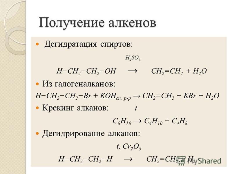 Получение алкенов Дегидратация спиртов: H 2 SO 4 HCH 2 CH 2 OH CH 2 =CH 2 + H 2 O Из галогеналканов: HCH 2 CH 2 Br + KOH сп. р-р СH 2 =CH 2 + KBr + H 2 O Крекинг алканов: t С 8 Н 18 С 4 Н 10 + С 4 Н 8 Дегидрирование алканов: t, Cr 2 O 3 HCH 2 CH 2 H