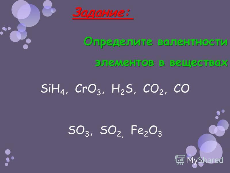 Задание: Задание: Определите валентности элементов в веществах SiH 4, CrO 3, H 2 S, CO 2, CO SO 3, SO 2, Fe 2 O 3