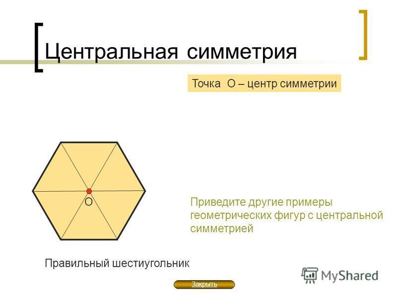 Центральная симметрия Точка О – центр симметрии Правильный шестиугольник О Приведите другие примеры геометрических фигур с центральной симметрией Закрыть