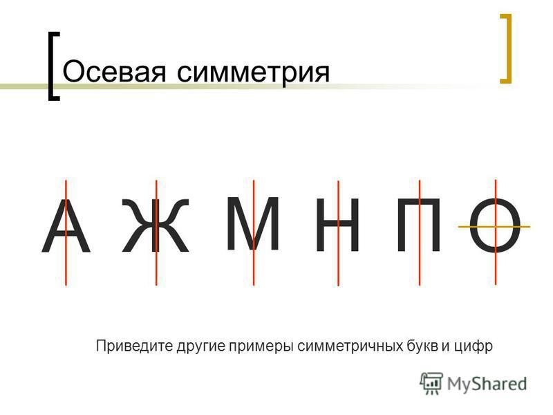 А Осевая симметрия Ж М НП О Приведите другие примеры симметричных букв и цифр