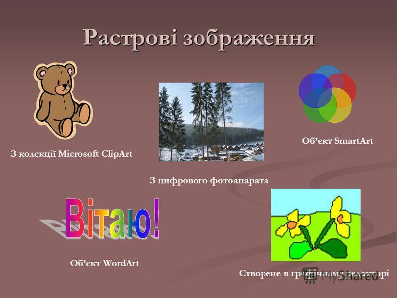 Растрові зображення З колекції Microsoft ClipArt Обєкт WordArt З цифрового фотоапарата Створене в графічному редакторі Обєкт SmartArt