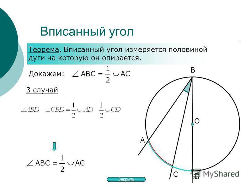 Вписанный угол А О В С Теорема. Вписанный угол измеряется половиной дуги на которую он опирается. Докажем: 3 случай АВС = АС 1 2 D 1 2 Закрыть