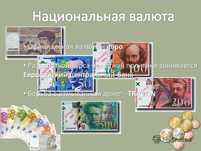 Официальная валюта – евро Официальная валюта – евро Разработкой курса валютной политики занимается Европейский центральный банк Разработкой курса валютной политики занимается Европейский центральный банк Борьба с отмыванием денег - TRACFIN Борьба с о