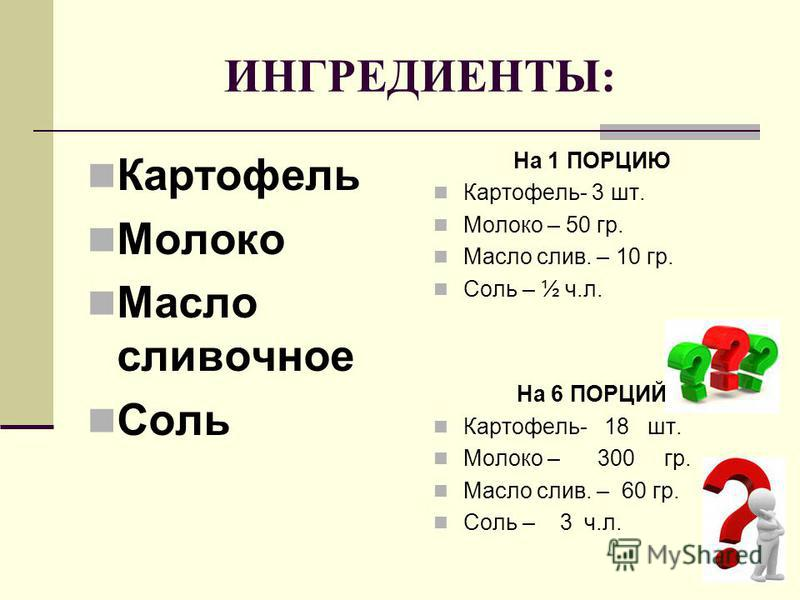 ИНГРЕДИЕНТЫ: На 1 ПОРЦИЮ Картофель- 3 шт. Молоко – 50 гр. Масло слив. – 10 гр. Соль – ½ ч.л. На 6 ПОРЦИЙ Картофель- 18 шт. Молоко – 300 гр. Масло слив. – 60 гр. Соль – 3 ч.л. Картофель Молоко Масло сливочное Соль