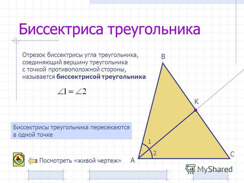 Биссектриса треугольника А В С Отрезок биссектрисы угла треугольника, соединяющий вершину треугольника с точкой противоположной стороны, называется биссектрисой треугольника К 1 2 Биссектрисы треугольника пересекаются в одной точке Посмотреть «живой
