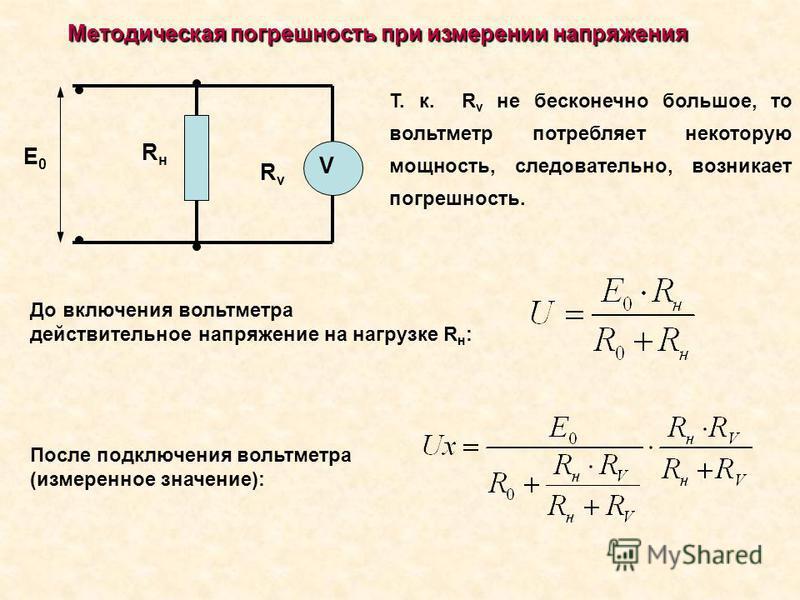Методическая погрешность при измерении напряжения Т. к. R v не бесконечно большое, то вольтметр потребляет некоторую мощность, следовательно, возникает погрешность. До включения вольтметра действительное напряжение на нагрузке R н : После подключения