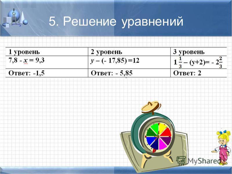 5. Решение уравнений