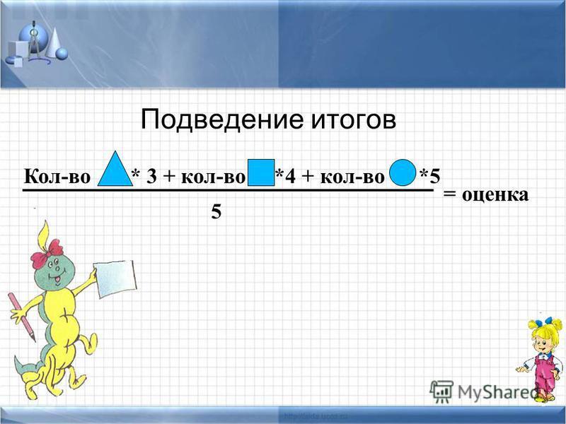 Подведение итогов Кол-во * 3 + кол-во *4 + кол-во *5 = оценка 5