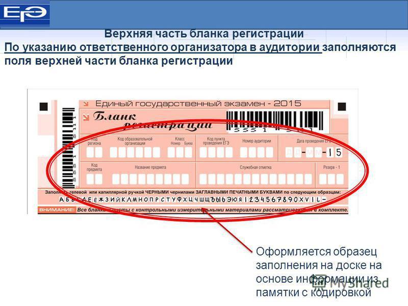 Оформляется образец заполнения на доске на основе информации из памятки с кодировкой Верхняя часть бланка регистрации По указанию ответственного организатора в аудитории заполняются поля верхней части бланка регистрации